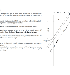 problem body b a 100 kg street light is fixed to the end of body a a bar of mass 200 kg a is in turn connected to a fixed vertical post  [ 1920 x 1080 Pixel ]