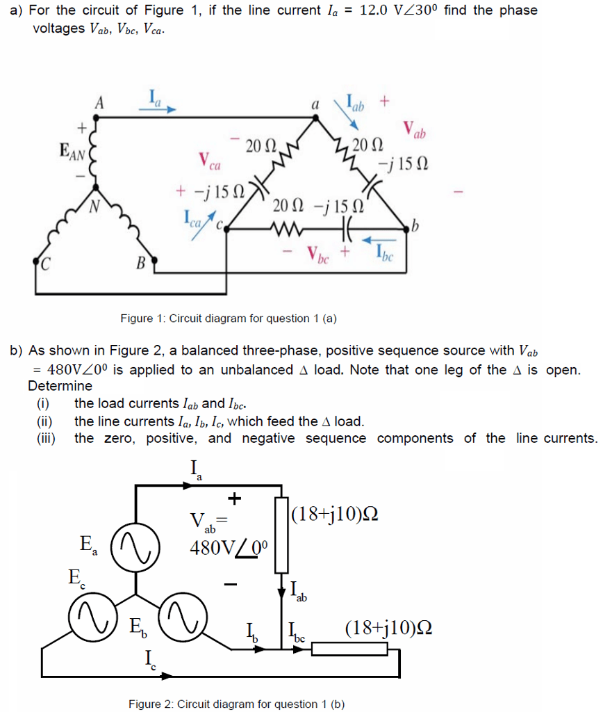 medium resolution of determine a for the circuit of figure 1 if the line current la 12 0 vz300