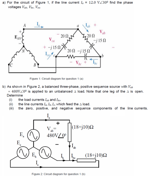 small resolution of determine a for the circuit of figure 1 if the line current la 12 0 vz300
