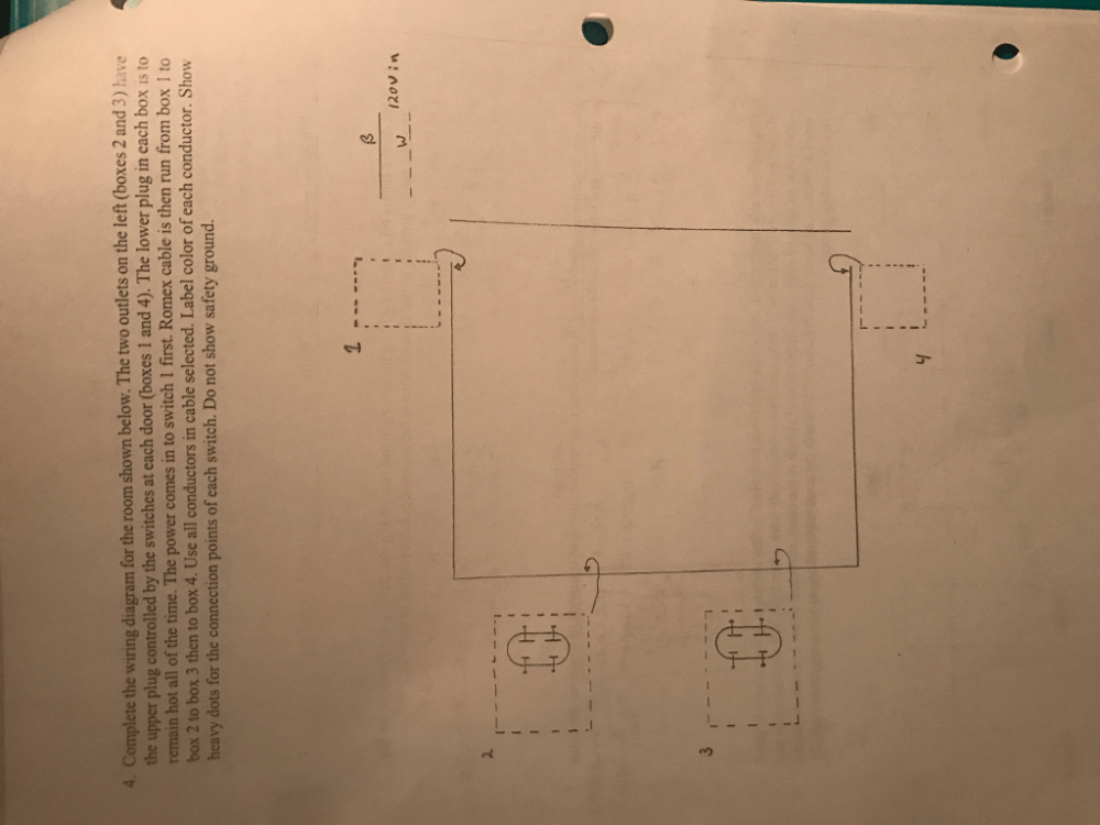 medium resolution of complete the wiring diagram for the room shown below the two outlets on the left
