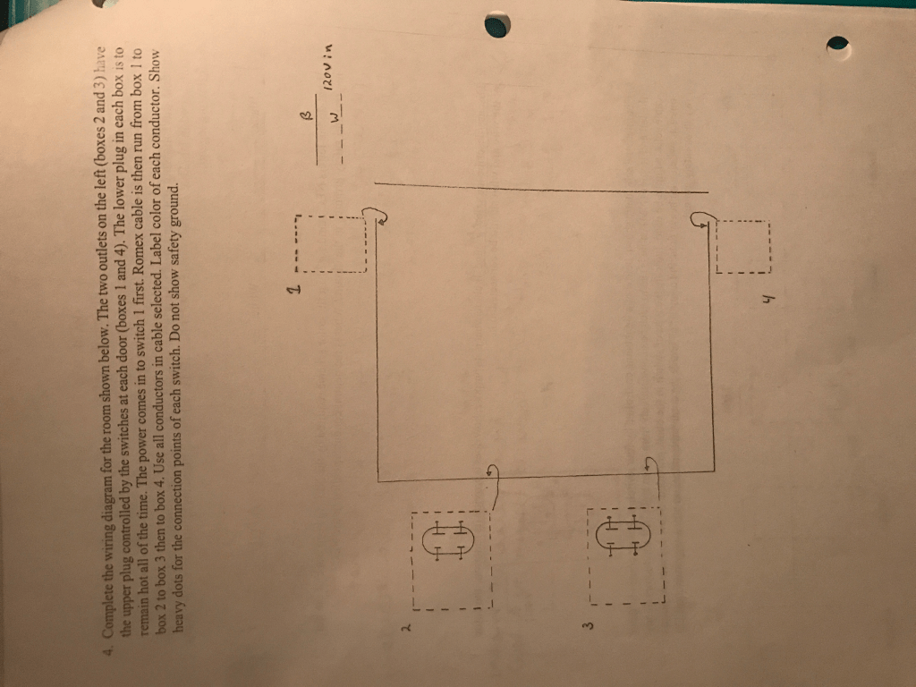 hight resolution of complete the wiring diagram for the room shown below the two outlets on the left