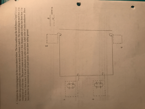 small resolution of complete the wiring diagram for the room shown below the two outlets on the left