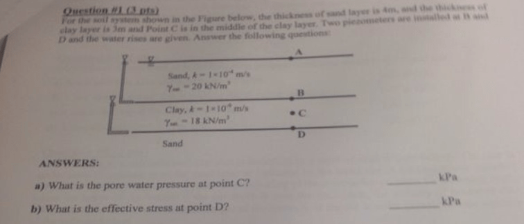Solved: What It The Pore Water Pressure At Point C? What I...   Chegg.com