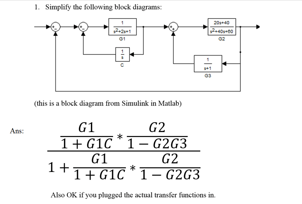 medium resolution of question simplify the following block diagrams this is a block diagram from simulink in matlab ans