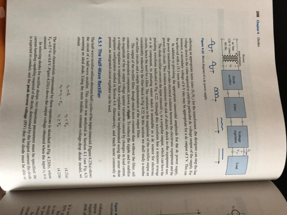 medium resolution of 208 chapter 4 diodes power transformer voltage regulator diode filter load ac line 120 v