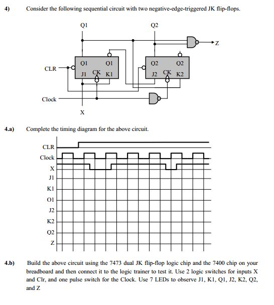 Solved: Complete The Timing Diagram For The Following Sequ