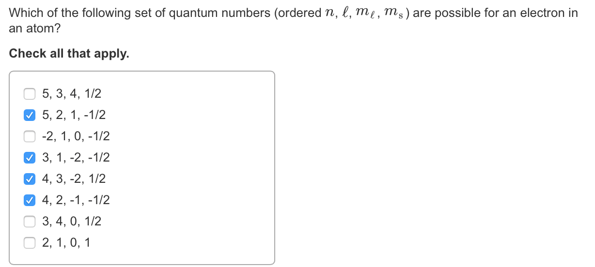 Solved: Which Of The Following Set Of Quantum Numbers (ord