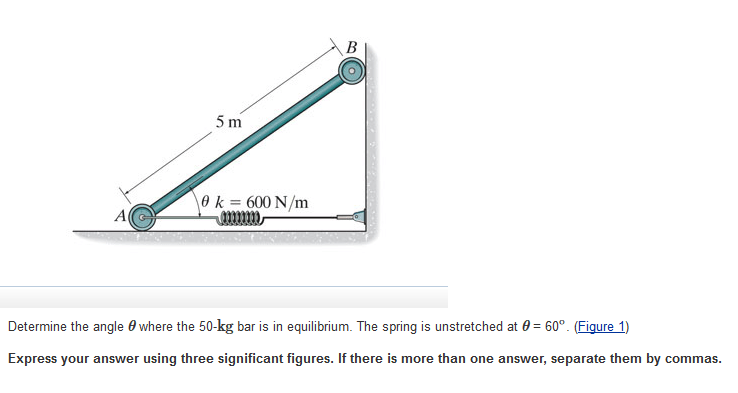 Solved: Determine The Angle Theta Where The 50-kg Bar Is I