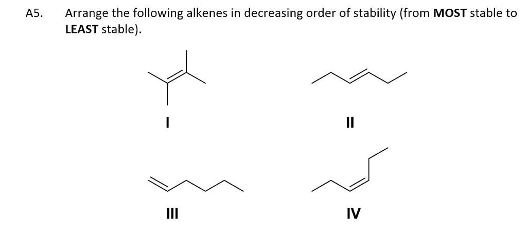 Solved: Arrange The Following Alkenes In Decreasing Order