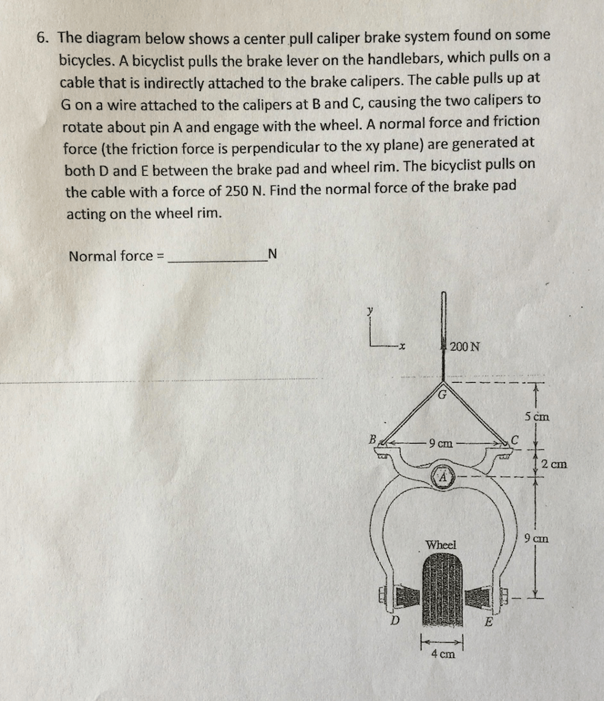 hight resolution of the diagram below shows a center pull caliper brake system found on some bicycles