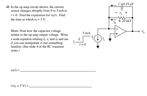 small resolution of in the op amp circuit shown the current source changes abruptly from