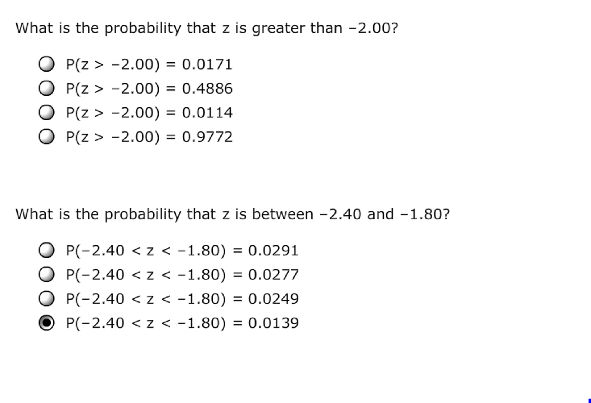 Solved 10 Using Probability Tables Finding Standard Norm