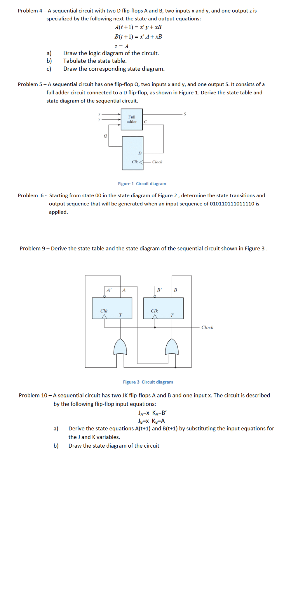 medium resolution of a sequential circuit with two d flip flops a and b
