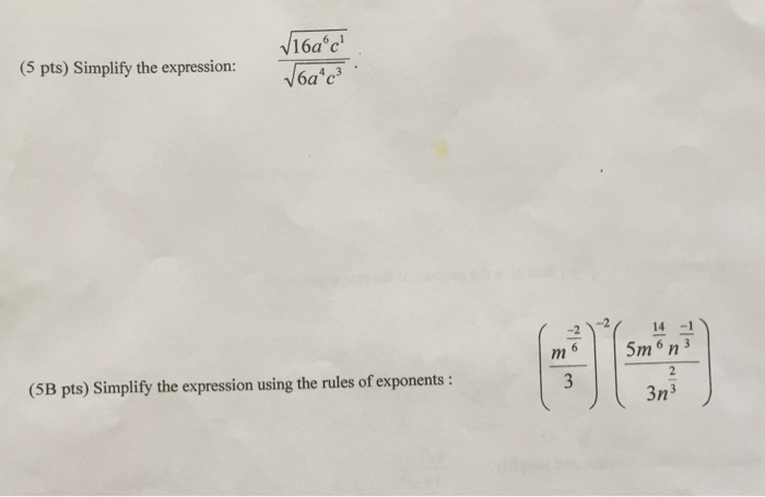 Solved: (5 Pts) Simplify The Expression: (5B Pts) Simplify