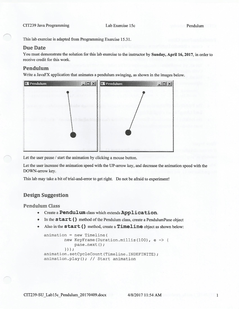 medium resolution of cit239 java programming lab exercise 15c pendulum this lab exercise is adapted from programming exercise 15 31