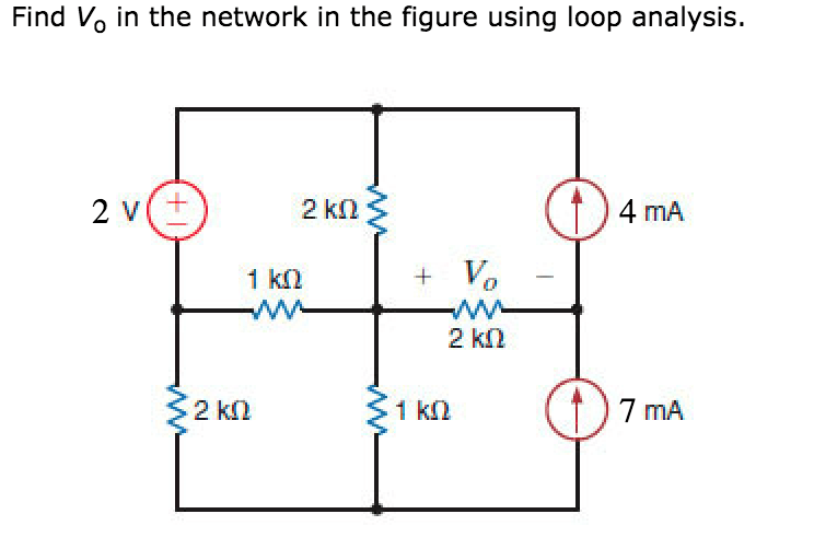 Solved: Find Vo In The Network In The Figure Using Loop An