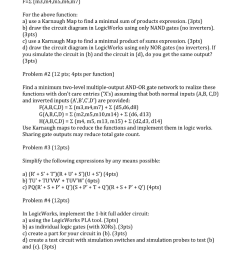 question problem 1 12pts ps m3 m4 m5 m6 m7 for the above function a use a karnaugh map to find a min  [ 843 x 1024 Pixel ]