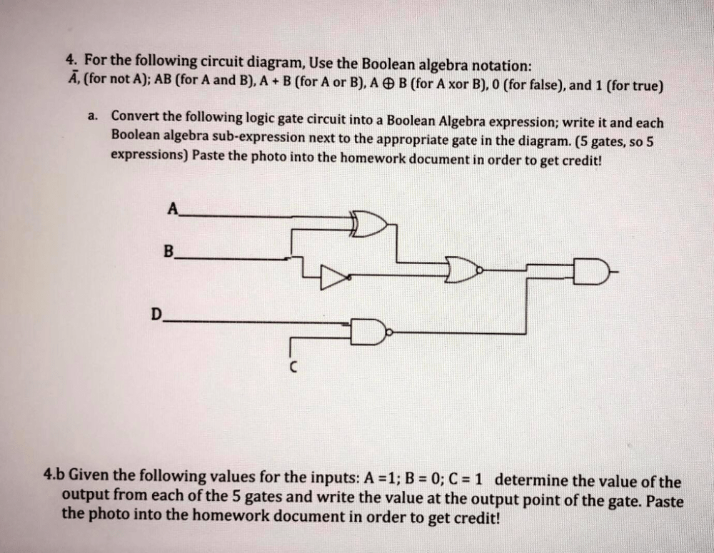 medium resolution of for the following circuit diagram use the boolean algebra notation a