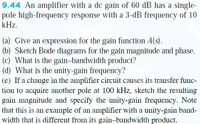 An Amplifier With A Dc Gain Of 60 DB Has A Singlep
