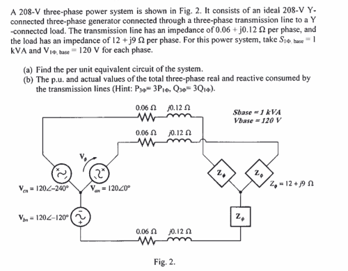 small resolution of a 208 v three phase power system is shown in fig