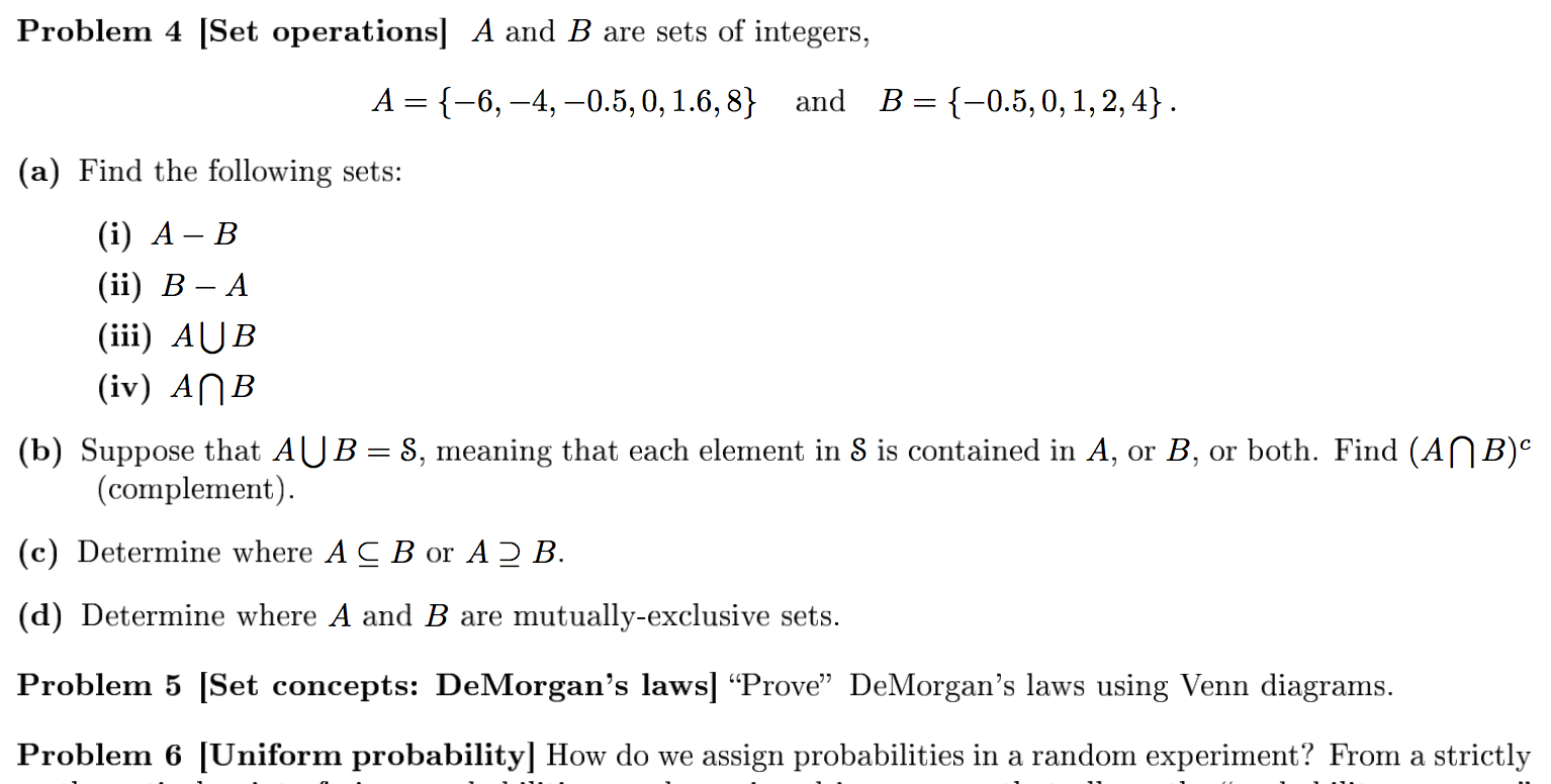 Solved Problem 4 Set Operations A And B Are Sets Of Int
