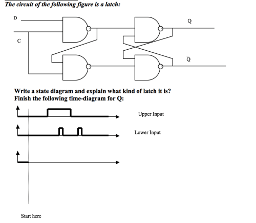 small resolution of question the circuit of the following figure is a latch write a state diagram and explain what kind of latch it is finish the following time diagram for