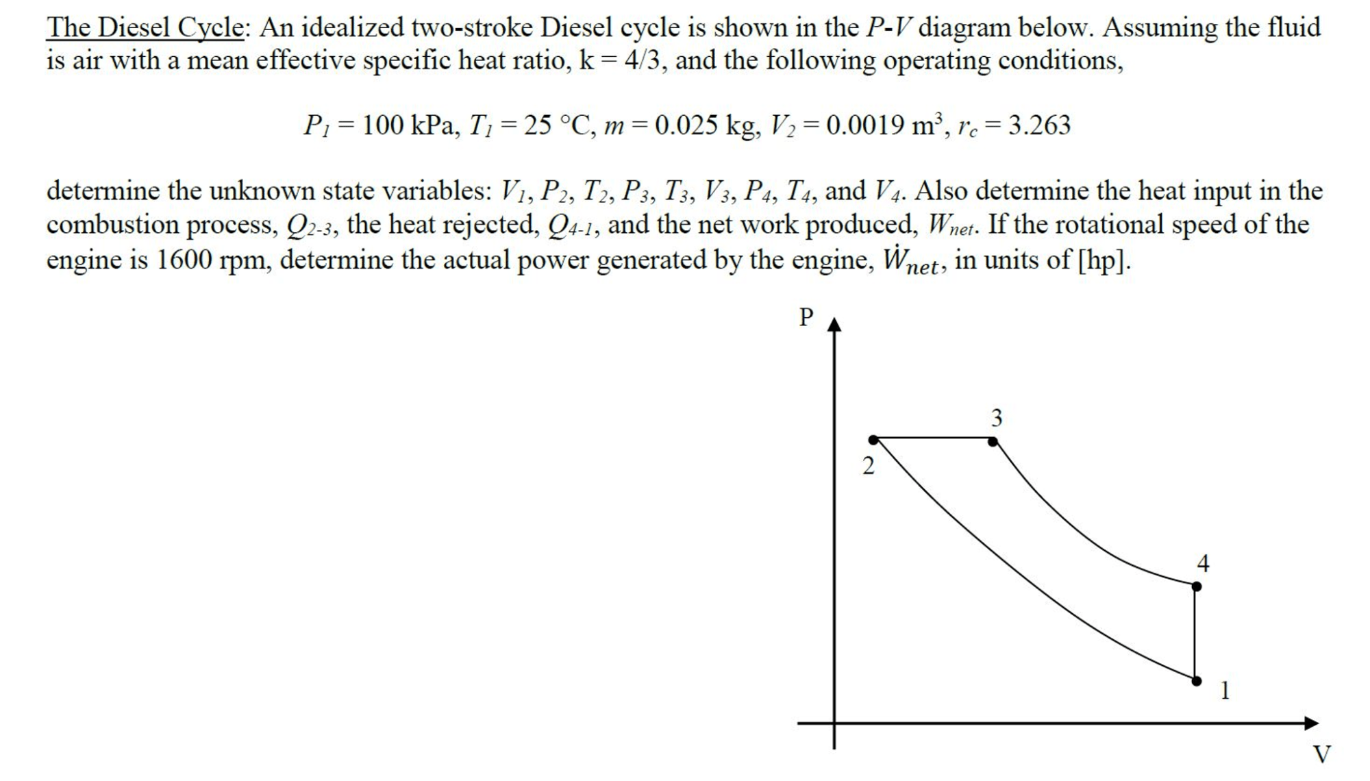 hight resolution of the diesel cycle an idealized two stroke diesel c