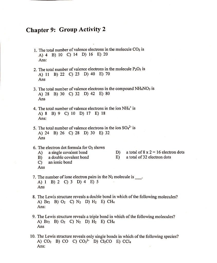 hight resolution of chapter 9 group activity 2 the total number of valence electrons in the molecule co2