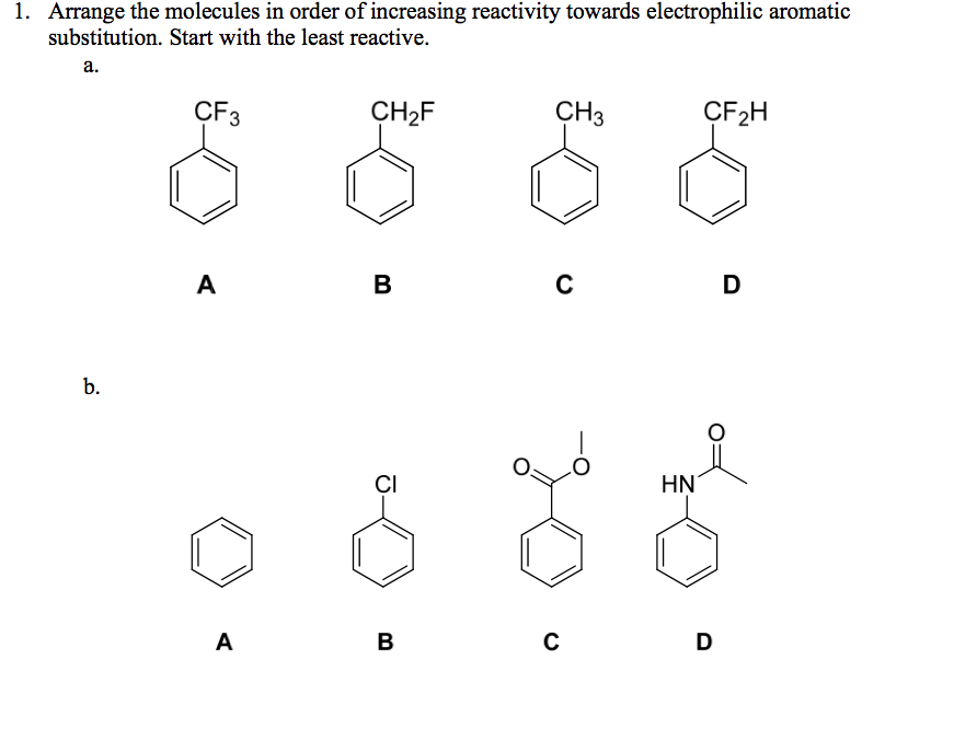 Solved: Arrange The Molecules In Order Of Increasing React