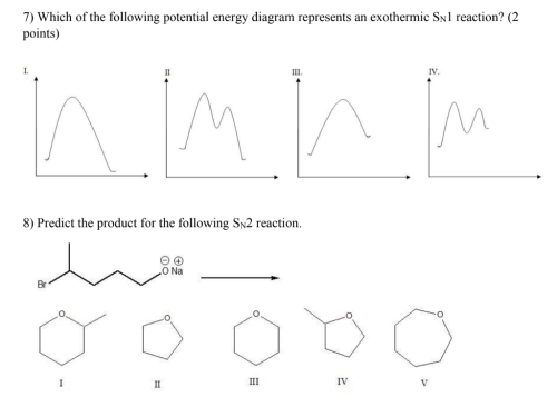 small resolution of 7 which of the following potential energy diagram represents an exothermic sn1 reaction