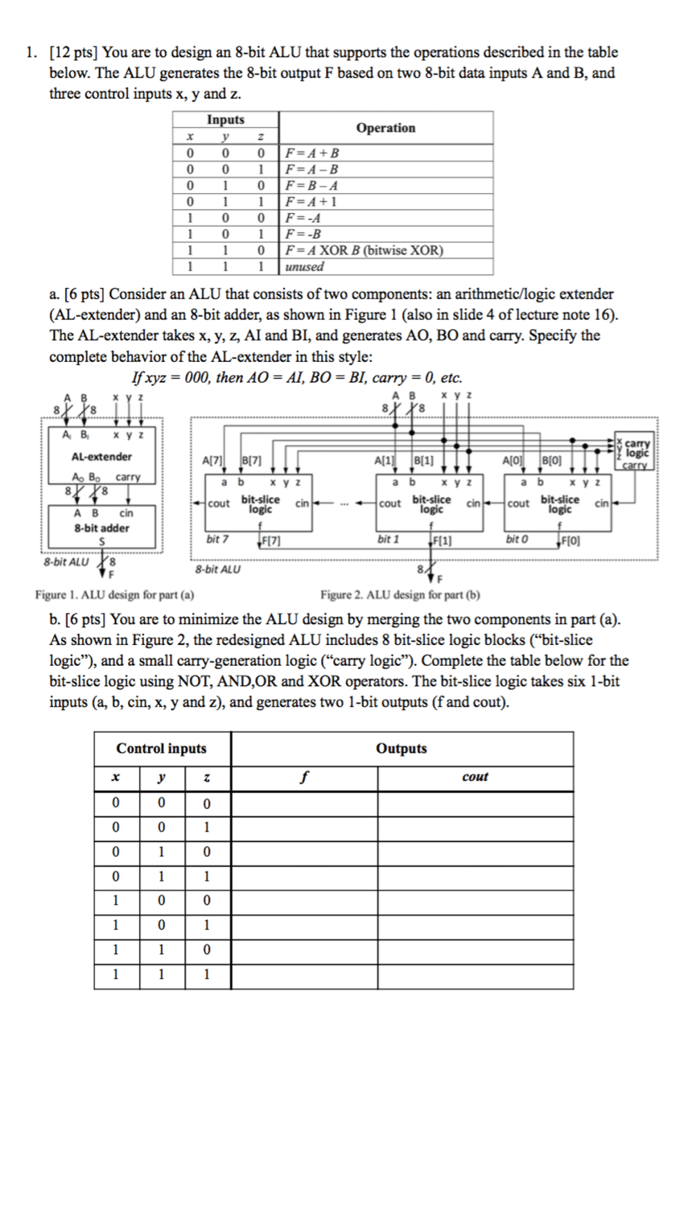 medium resolution of you are to design an 8 bit alu that supports the o chegg com speaker circuit diagram 8 bit alu circuit diagram