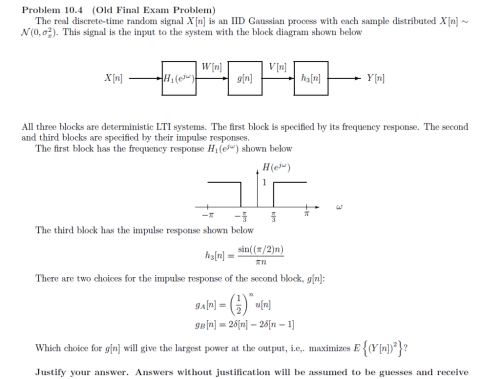 small resolution of problem 10 4 old final exam problem the real discrete time random signal xin