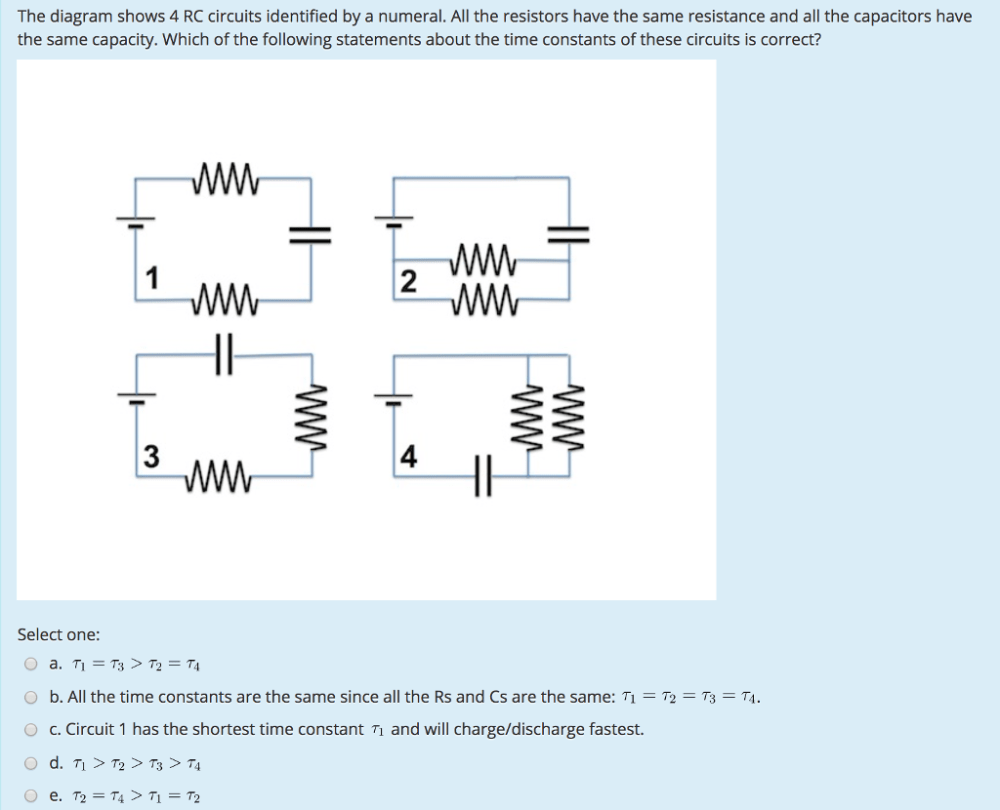medium resolution of solved the diagram shows 4 rc circuits identified by a nu which circuit diagram shows three resistors connected in series circuit diagram shows