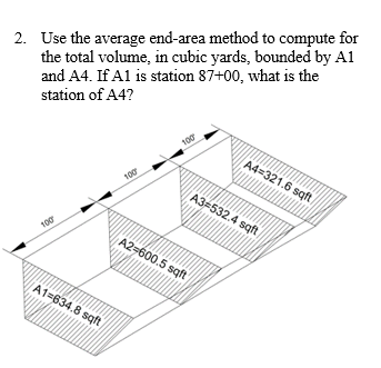 Solved: 2. Use The Average End-area Method To Compute For