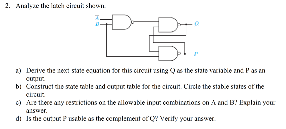 medium resolution of analyze the latch circuit shown a derive the