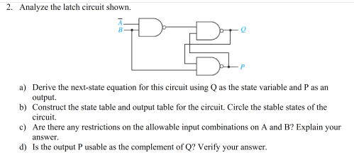 small resolution of analyze the latch circuit shown a derive the