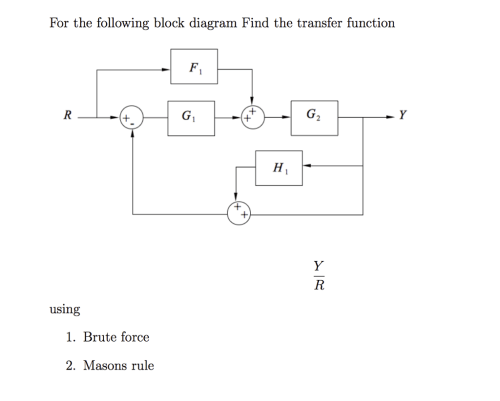 small resolution of for the following block diagram find the transfer function using 1 brute force 2
