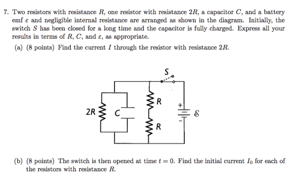 medium resolution of solved two resistors with resistance r one resistor with circuit diagram including a battery emf capacitor c a resistor