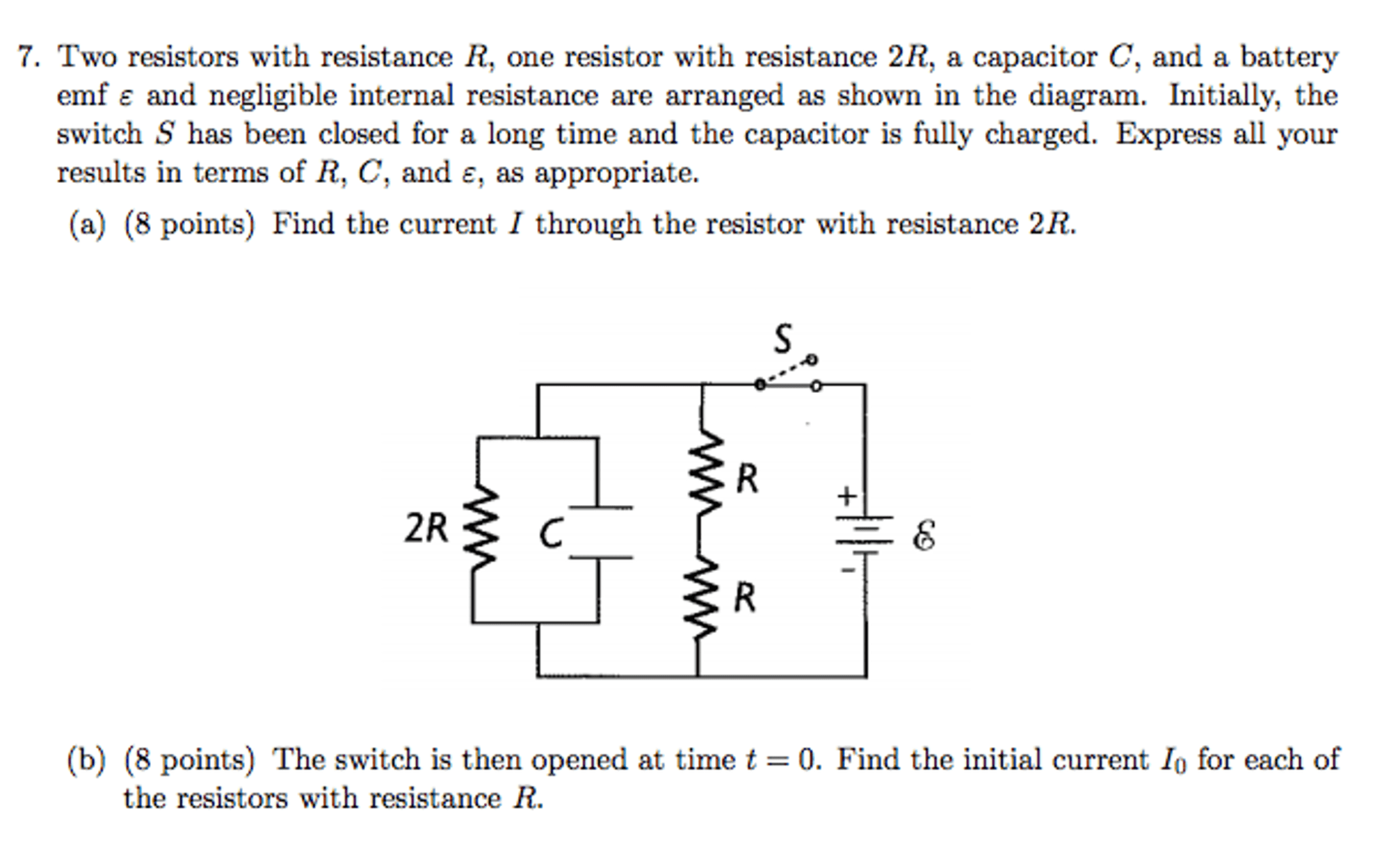 hight resolution of solved two resistors with resistance r one resistor with circuit diagram including a battery emf capacitor c a resistor