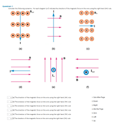 question 1 consider the following scenarios for each diagram a f indicate the direction [ 880 x 1015 Pixel ]