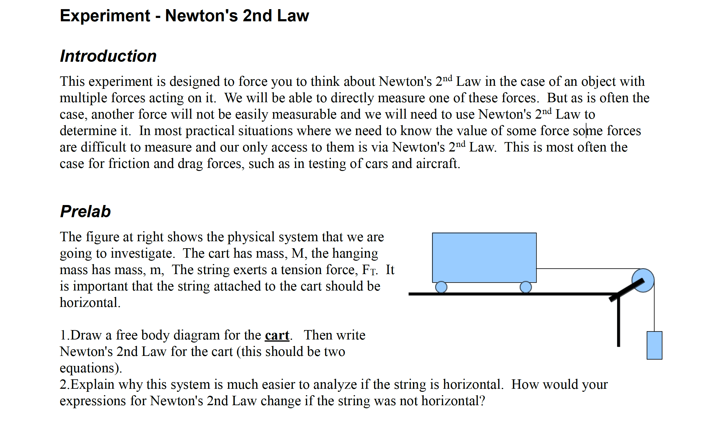Solved Experiment Newton S 2nd Law Introduction This Expe