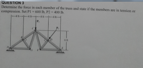 Solved: Determine The Force In Each Member Of The Truss An