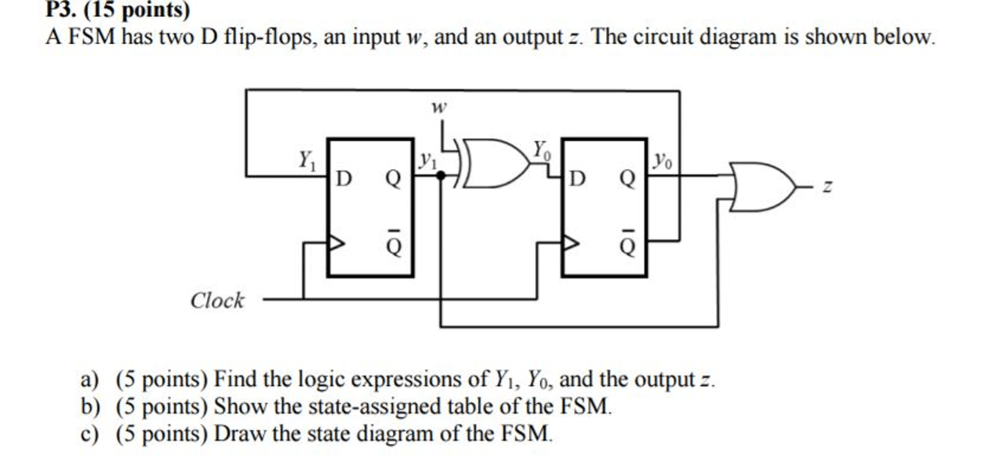 hight resolution of a fsm has two d flip flops an input w and an out