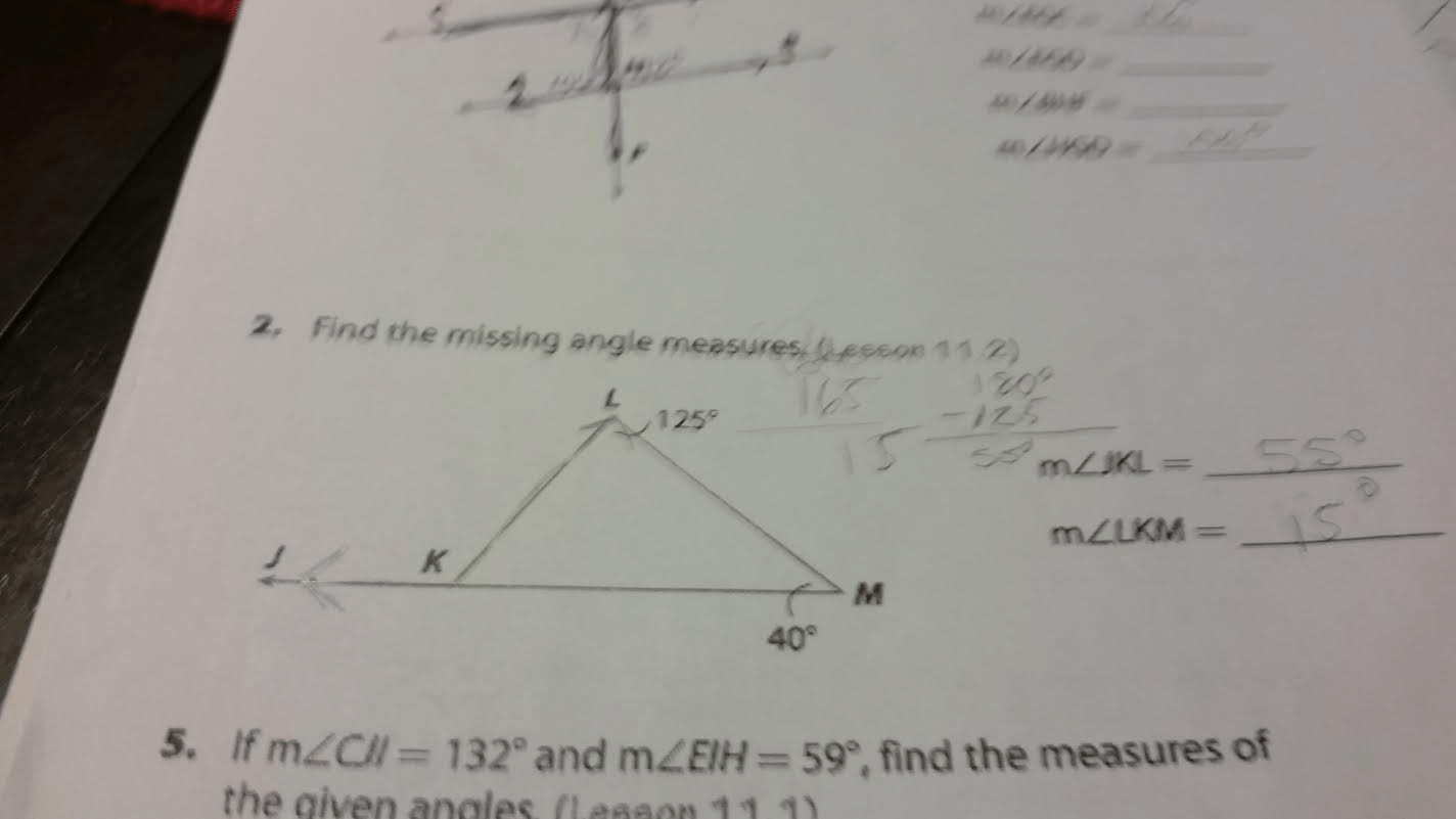 Solved Find The Missing Angle Measures Lesson 11 2 M An