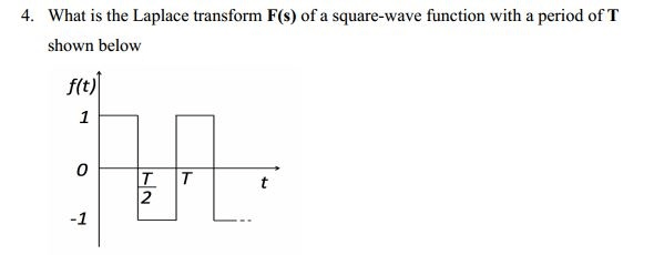 Solved: 4. What Is The Laplace Transform F(s) Of A Square