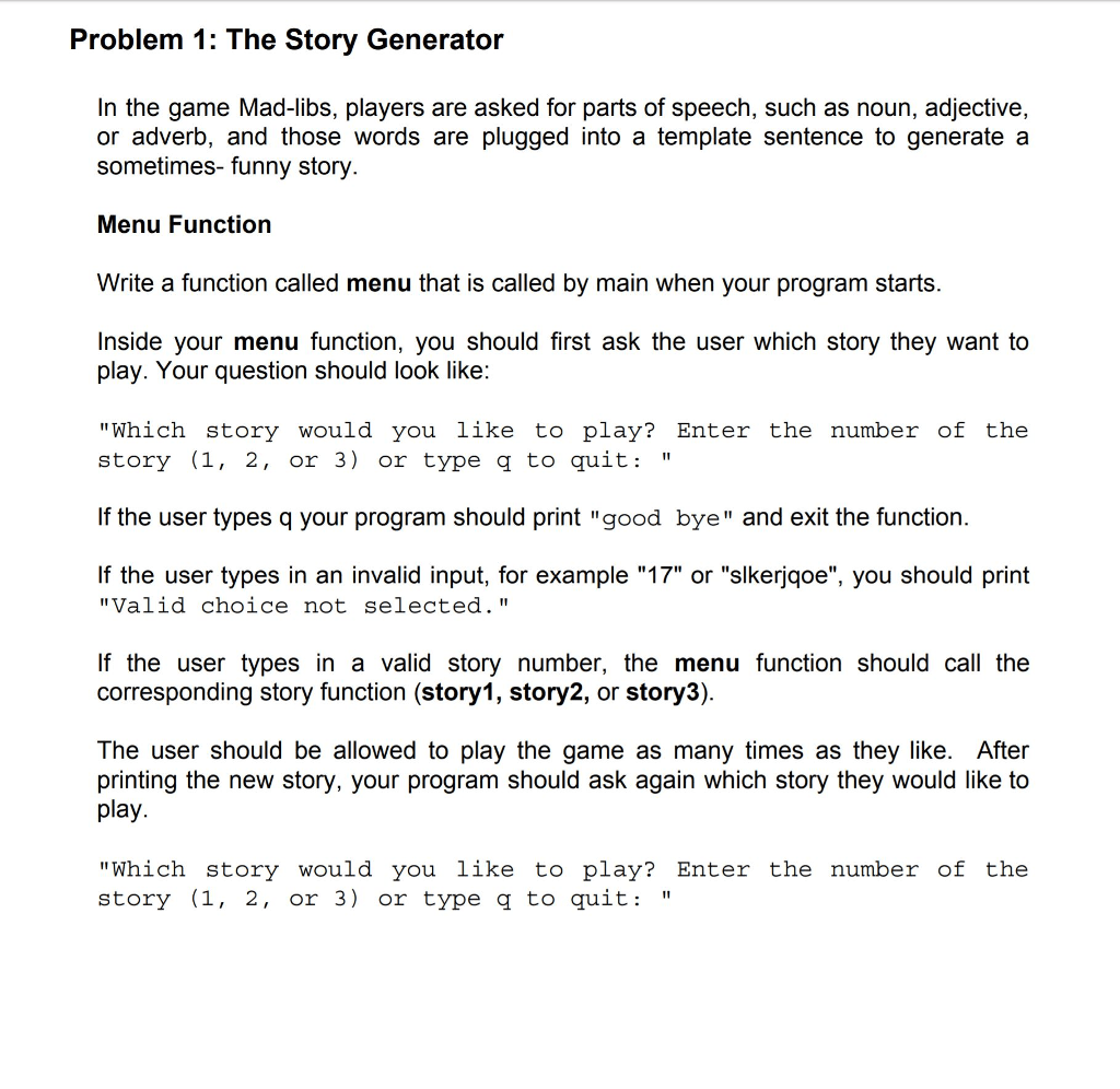 Solved Problem 1 The Story Generator Answer In C Onl