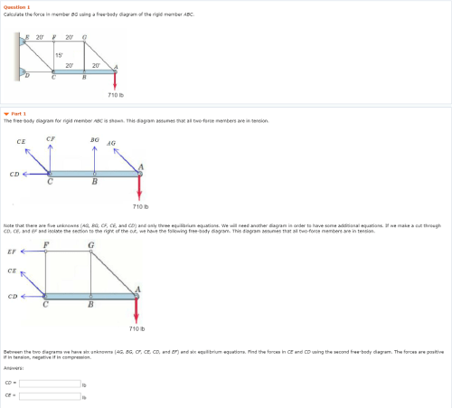 small resolution of question 1 calculate the force in member bg using a free body diagram of the