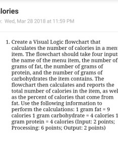 Calories due wed mar at pm create visual logic program also solved  flowcha rh chegg