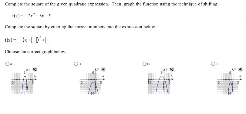 Complete The Square Of The Given Quadratic Express