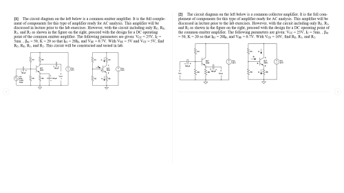 small resolution of image for 1 the circuit diagram on the left below is a common emitter